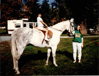 Karen loved horses and took riding lessons when they lived in Ohio
